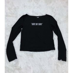 """""""Sorry not sorry"""" black crop top size xs"""